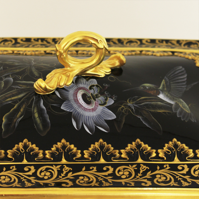 Hand Painted Black Fine Bone China Box