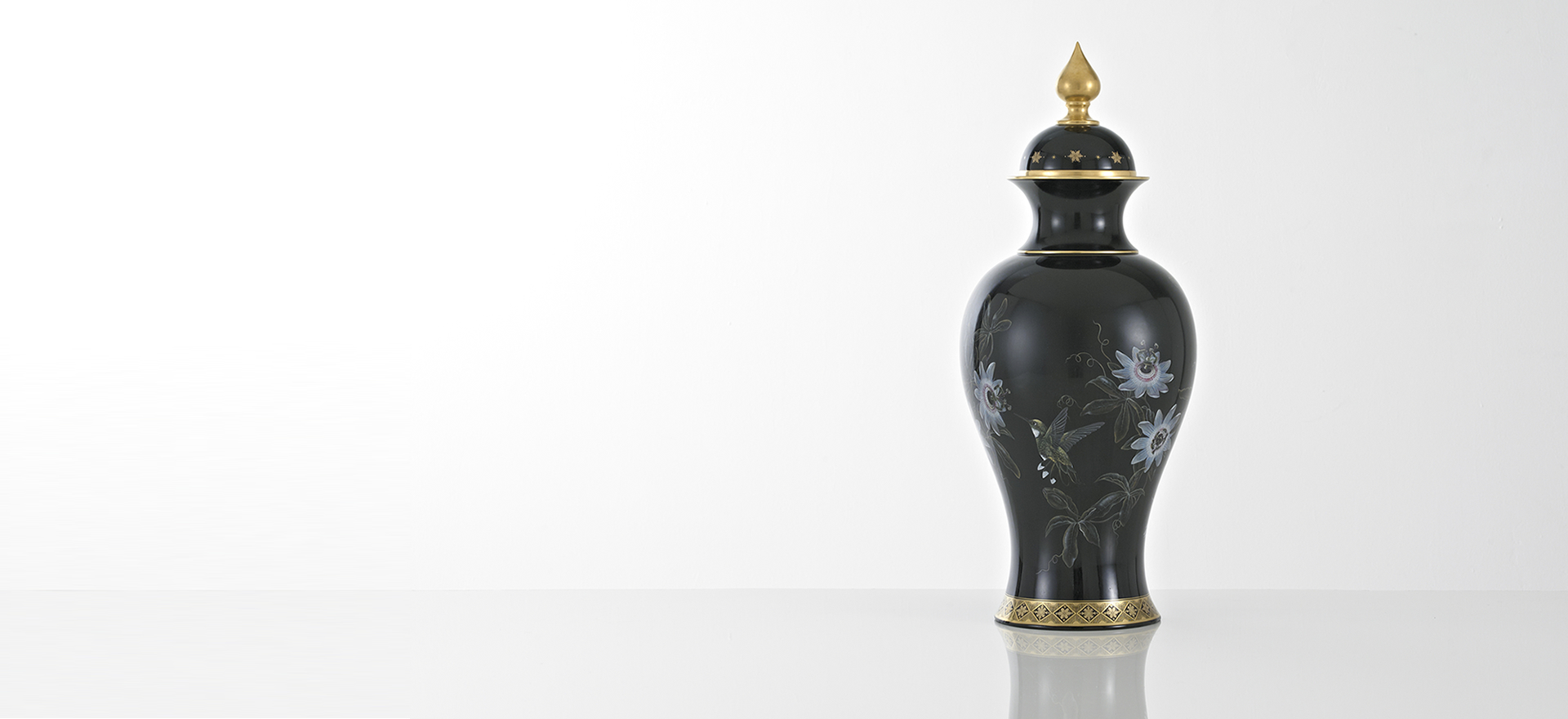 Hand Painted Black Fine Bone China Vase