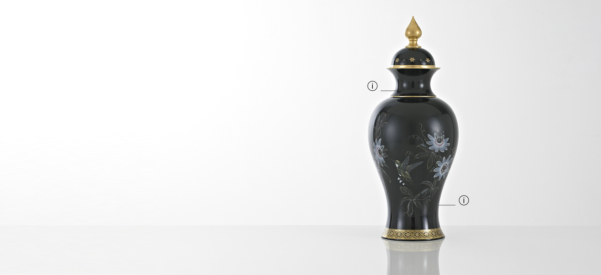 British Luxury Ceramics Black Fine Bone China Vase