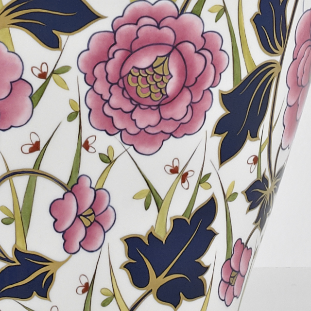 British Hand Painted Floral Vase