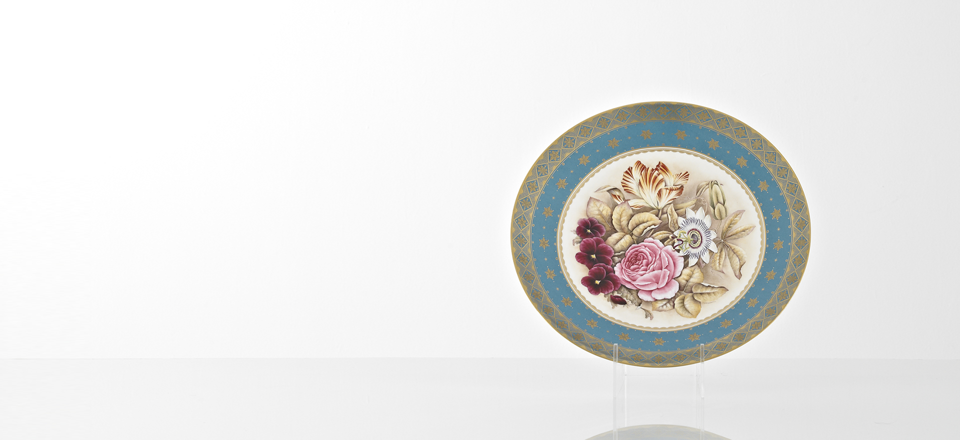 Hand Painted Fine Bone China Floral Comport Platter