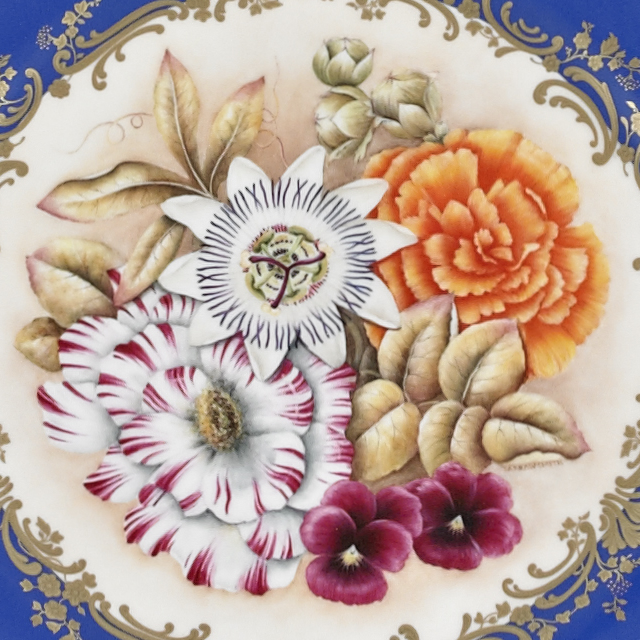 Hand Painted Floral Service Plate