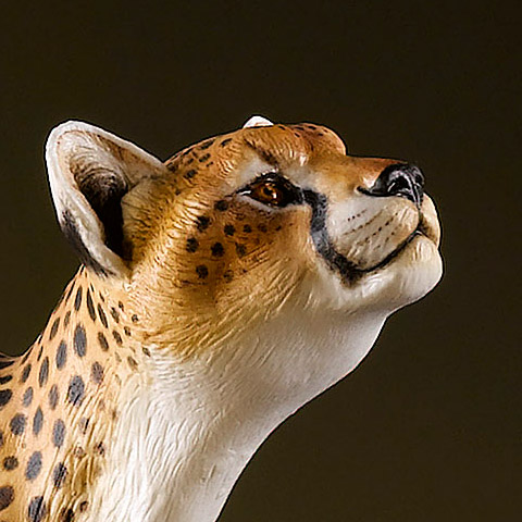 Hand Painted Cheetah and Impala Sculpture